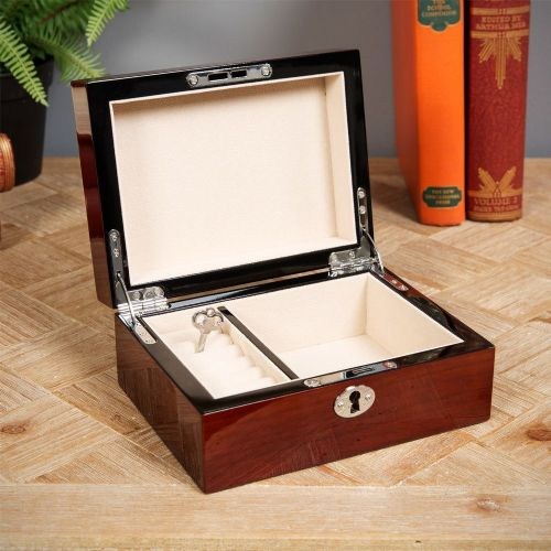 Gloss Finish Luxury Wooden Jewellery Box With Lock By Stratton of Mayfair